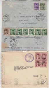 EGYPT 1937/40 3x covers 2) to LONDON & 1) CENSOR cover to WASHINGTON USA