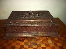 Ancienne grande boite coffret jeux en bois de foret noire XIXe Black forest Box