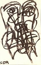 EXPRESSIONISM SIGNED ART ORIGINAL DRAWING PAPER GALLERY SKETCH CHARCOAL DECOR