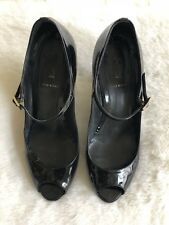 Fendi Black Ankle Strap Wedge Size 38 Patent Leather