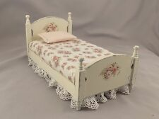 Dollhouse Miniature Shabby Chic Dressed Twin Bed with Pink Floral Print Fabric