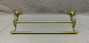 "Antique 18""  Double Towel Bar Rack Brass  Vtg Bathroom  S. Sternau Old 191-20J"