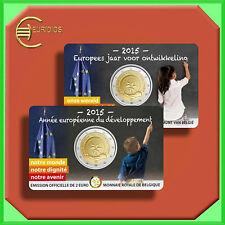 """2 Euro € Gedenkmünze Belgien 2015  """" Jahr für Entwicklung """" Coin Card"""