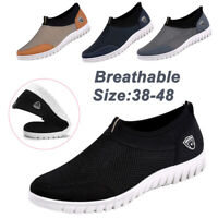 Men's Breathable Mesh Athletic Shoes Casual Slip On Loafer Walking Flat Sneakers