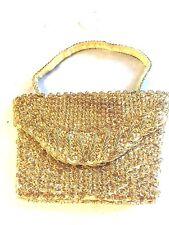 Handmade Gold Sequin Clutch w Strap Evening Bag Attire Metallics Hong Kong