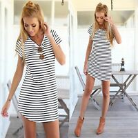 Women Loose Crew Neck Short Sleeve T Shirt Black White Striped Mini Dress S-XXL