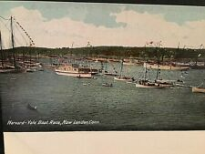 Postcard Antique View of Harvard-Yale Boat race in New London, CT.   T3