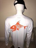 Men's customized fish design dri fit white long sleeve (Fishing Shirt).