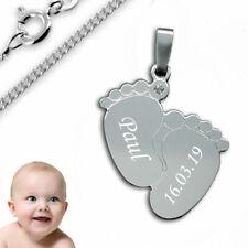 Anhänger Babyfüße mit Zirkonia-925er Sterling Silber- Inkl. Kette+Gravur-3