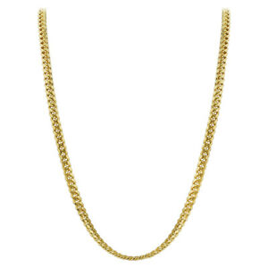 Gold Plated 925 Sterling Silver Vermeil 4mm Curb/Cuban Chain Necklace