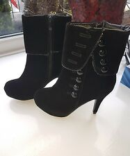 Unbranded Ladies Brushed Suede Black Ankle Boots - Size 3