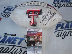 Matt Wells signed Texas Tech TTU Red Raiders logo football Guns Up JSA COA