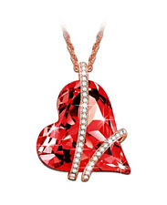 """LadyColour """"Sweet Heart"""" Red  Heart Pendant Necklace 18"""","""