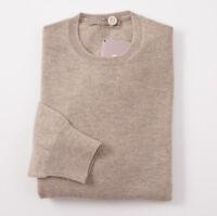 NWT $900 CRUCIANI Oatmeal Tan 100% Cashmere Sweater XL (Eu 54) Crewneck