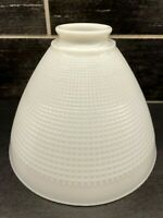 "Vtg Lamp Shade Light White Milk Glass Diffuser Globe Waffle Torchiere 8"" D"