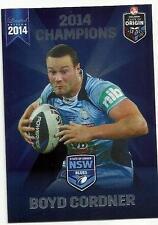 2014 ESP NRL STATE OF ORIGIN NSW BLUES ROOSTERS BOYD CORDNER SOO4 CARD