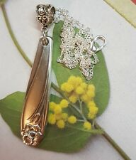 vtg ANTIQUE SPOON Daffodil Necklace Jewelry sterling silver plate pendant flower