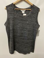 Exclusively Misook NWT Sz 2X Acrylic Knit Tank Shell Top Charcoal Gray Black