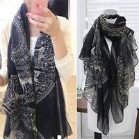 Vintage Women Long Soft Cotton Voile Print Scarves Shawl Wrap Scarf Fawn JS