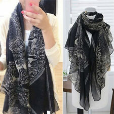 Vintage Women Long Soft Cotton Voile Print Scarves Shawl Wrap Scarf Fawn CPUK