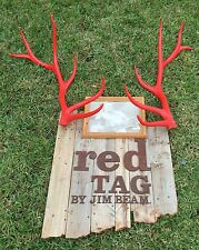 Jim Beam Red Stag Whiskey Wood Sign With Antillers Rare Unique