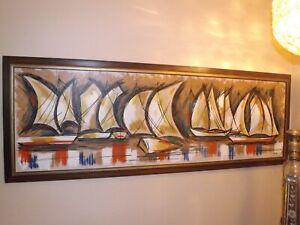 Large Vtg 1960s Lawson Abstract Sailing Ships Wall Hanging Mid Century Art MCM