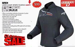 CLEARANCE! DRIRIDER Motorcycle Womens Jacket #10/12 NEW rrp$349 Female Ladies