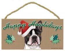 """""Happy Howlidays"" Wooden Sign - Boston Terrier"