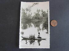 Postcard size card Photograph PNG Native on Canoe in River