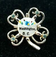 Washington DC Souvenir Brooch Lapel Pin Handpainted Goldtone 4-Leaf Clover 5634F