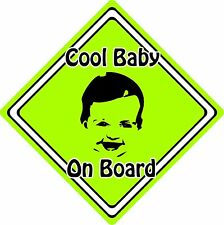 Cool Baby/Child On Board Car Sign ~ Baby Face Silhouette ~ Neon Green