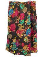 BFA Classics Womens Floral Midi Skirt Brown Purple XL Pull On Elastic Waist