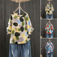 Women Summer Short Sleeve Printed Polka Dot Top Ladies Shirt Casual Loose Blouse