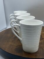 Mikasa Swirl White Bone China Coffee Mugs Set of Four New