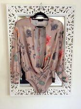 Zara Pink Floral Plunge Bodysuit, Size L UK 12 New