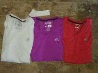 New Womens Adidas Basic Tee Shirt T-Shirt Red Purple White V-neck S/S S M L