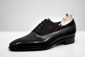 Men Handmade Shoes Classic Black Suede & Leather Formal Dress Casual Wear Boots