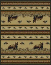 """WILDLIFE grizzly BEAR rustic 2x8 area rug CABIN runner: Actual Size 1'11"""" x 7'4"""""""