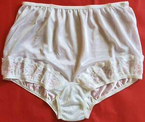 3 pair Size 8 White 100% Nylon Panties with Lace on Front Leg Made in USA Panty