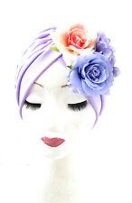 Lilac Purple Pink Dahlia Rose Flower Turban Headpiece 1950s Rockabilly 1940s 919