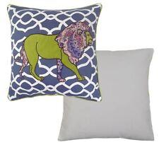 Paoletti Kruger Lion Appliqued Cushion Cover Blue 45 X 45 Cm