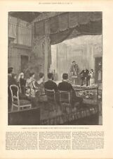 1893 ANTIQUE PRINT -THEATRE,  COMEDIE FRANCAISE WITH QUEEN AT WINDSOR CASTLE