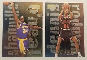 Lot of (2) 96-97 Skybox Intimidators Shaq Oneal #15, Dennis Rodman #19 of 20
