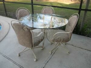 Vintage Chromcraft Wrought Iron Dining Room Set Glass Top 4 Chairs Casters