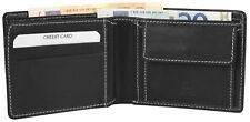 Herren Geldbörse in Echtleder Brieftasche Geldtasche Echt Leder schwarz mit Naht
