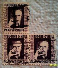 1967 Scott 1294 U. S. Eugene O'Neill, Author three used $1 stamps off paper