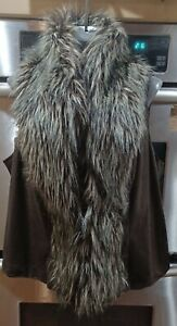 INC Women's Faux-fur Vest Jacket~Size 1X~Brown Faux Leather