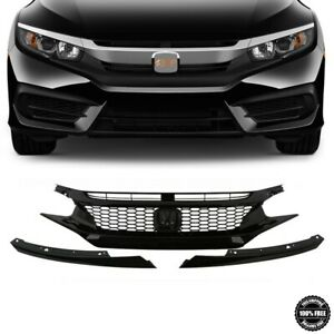Fits 2016-2018 For Honda Civic Front Upper Grille Gloss Black Honeycomb Grill