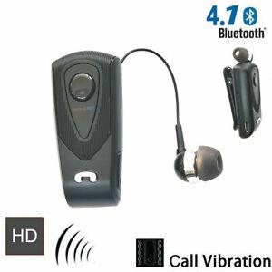 CUFFIA AURICOLARE BLUETOOTH CAVO RETRATTILE IPHONE SAMSUNG con microfono fineblu