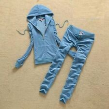 Aqua Blue Women's-Juicy-Couture-Size M-Velour-Sweatsuit-Tracksuit-USA Seller